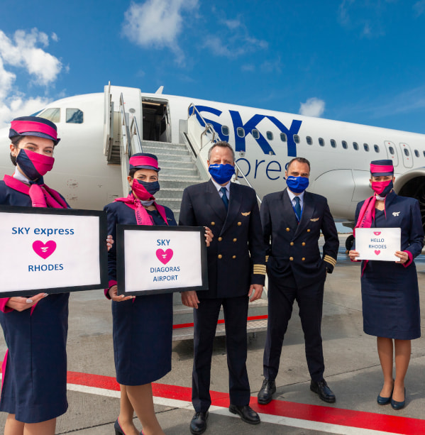 SKY express flights to Rhodes commenced with the  brand-new Airbus A320neo