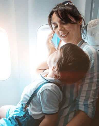 mother and son travelling